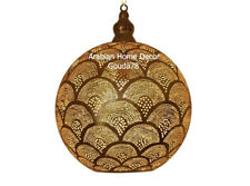 """Moroccan Handcrafted Gold Brass Pendant Hanging Lamp 16"""" Ceiling Light Fixture"""