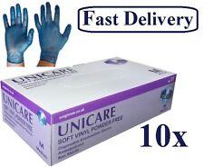 Unicare Blue Vinyl Gloves Disposable Powder Free Food Safe Medical Grade 500