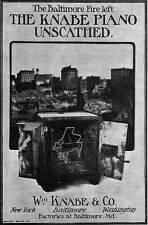 Great Baltimore Fire Left Knabe Piano Unscathed 1904 Magazine Print Ad