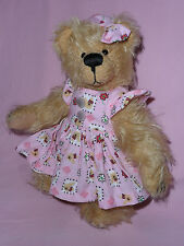 Künstlerteddy Teddybär Teddy Bär Bärenmädchen im rosa Kleid Clemens 23 cm