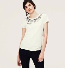 NWT Ann Taylor Loft Whisper White LOVE Chain Graphic Soft Cotton SS Tee Shirt L