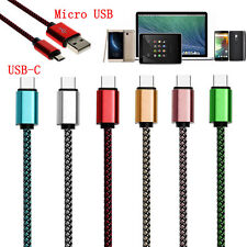 0.25-3 Meters Nylon Braided Micro USB&USB-C Quick Sync Data Charger Cable Lot