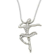 "Ballet Dancer Ballerina Charm Pendant Necklace - Sparkling Crystal - 18"" Chain"