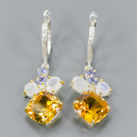 Citrine Earrings Silver 925 Sterling Vintage SET12x12mm  /E43087