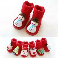 Newborn Infant Baby Boys Girls Christmas Floor Socks Anti-Slip Step Socks Shoes