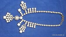 "J. Crew Bubble Bib White Lucite Statement Collar Necklace Antiqued Gold 20.5"" EC"