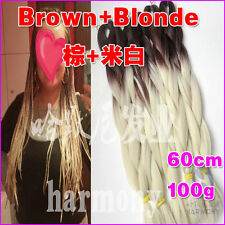 Brown + Blonde Kanekalon Jumbo Braiding Synthetic Hair Extension Twist Braids