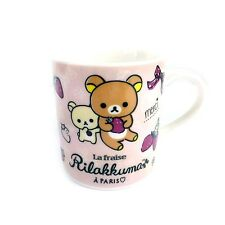 San-x Bon Appetit Rilakkuma in Paris Ceramic Mug Cup with Box : Pink Strawberry