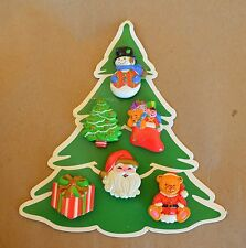 Vtg Set 6 Uused Christmas Button Covers w Brass Snowman Tree Stocking Santa Gift