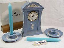 Wedgwood Blue Jasper Ware Millennium 2000 Mantle Clock &  Pair of Candlesticks.