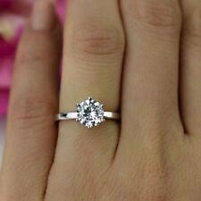 1 Ct Solitär Diamant-Verlobungsring Damen Ring Weißgold Vergoldet Schmuck Frauen