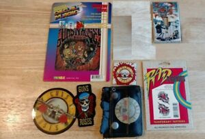 Vintage Guns N' Roses Memorabilia merch lot patch sticker rub on tattoo magnet