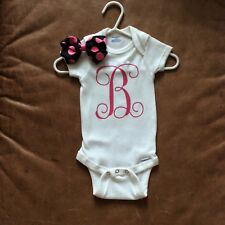 """Brand New 2 piece outfit Initial """"B"""" Onesie with HairBow! So cute, Size 3-6 mos"""