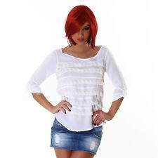 Sexy Shirt Basic Pull chemisier avec volants de tendre dentelle blanc taille M