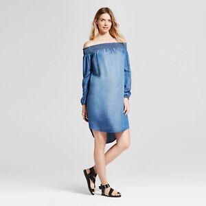 Isabel Maternity Off-the Shoulder Long Sleeve Blue Denim Chambray Dress