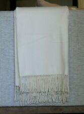 New Williams Sonoma Solid Ivory Cashmere Fringe Throw Luxury Blanket