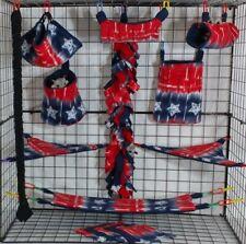 American Stripe *15 Pc Sugar Glider Cage set * Rat * double layer Fleece