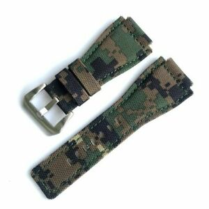 Nylon Canvas Watch Band For Bell & Ross Wrist Strap Green Army Camo Bracelet