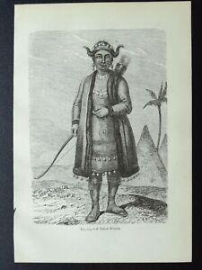 Russia Siberia A YAKUT WOMAN HUNTER Original Victorian Print by Figuier c1893