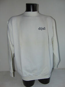 Vintage 90 DEJAVU L XL USATO Felpa Hoodie Sweatshirt Bianco