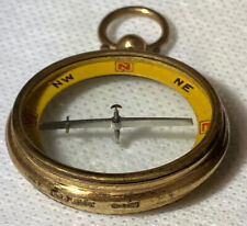 Antique Francis Barker & Sons Ltd POCKET COMPASS Mark 10CT & Makers Initials