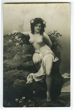 1910s Sexy French NUDE BEAUTY young lady risque photo postcard