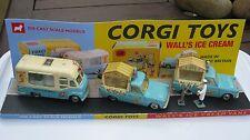 CORGI 474 447 428 WALLS ICE CREAM 3 Original playworn Vans sur displayplinth