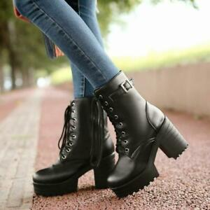 Gothic Womens Lace Up Chunky Heels Mid Calf boots Combat Boots Platform Shoes