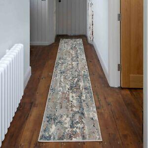 Silver Grey Beige Hallway Runner Mats Super Soft Transitional Distressed Rugs UK