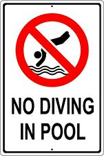 No Diving In Pool Shallow Water Swimming Injury Aluminum Sign