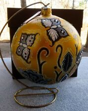 """Jay Strongwater Artisan Butterfly Nouveau Gold Glass 6"""" Ball Ornament New w Box"""