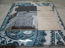 Cynthia Rowley Medallion Paisley Full/Queen Duvet Cover Set ~ Blue and white NEW