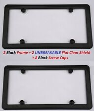 2 UNBREAKABLE Flat Clear Shield + 2 Black Frame + 8 Screw Caps for Vehicles