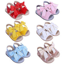 Baby Girl Bow Sandals Flat Heels Toddler Kids Summer Party Wedding Spanish Shoes