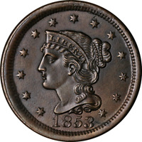 1853 Large Cent Choice BU++ Superb Eye Appeal Strong Strike