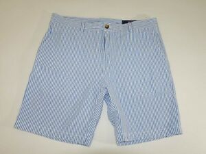 Vineyard Vines Seersucker Breaker Shorts Size 36 Blue White Flat Front Striped