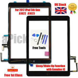 For 2017 iPad 5th Gen A1822 A1823 Touch Screen Digitizer Replacement + IC Black