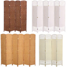 4/6 Panels Room Divider Privacy Screen Folding Partition Home Wall Solid Wicker
