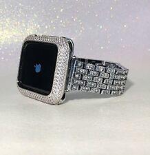 2 pc set 42mm Silver Lab Diamond Apple Watch Bezel +Crystal watch band bling