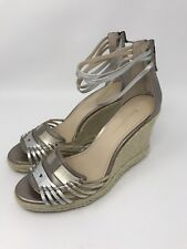 Enzo Angiolini Women's Falera Wedge Sandal Silver Metallic Shoes Size 9