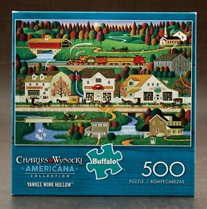 Charles Wysocki Yankee Wink Hollow 500 Piece Puzzle W/Poster Buffalo Games