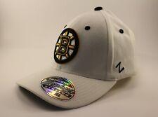 Boston Bruins Hat Cap NHL Zephyr Stretch XL Adult NEW White Hockey