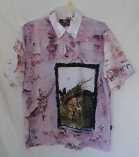 Led Zeppelin Iv Button Up /Down Shirt Large Bravado Dragonfly Camp Club Hawaiian