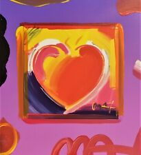 Original Peter Max Combination Brushstrokes Heart 2x Artist Signed Mixed Media