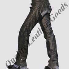 100% GENUINE LEATHER FRINGED WOMEN CHAPS BACK LACING MOTORCYCLE  BIKER HORSE