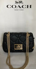 COACH F38074 DMD QUILTED CASSIDY CHAIN CROSSBODY HANDBAG PURSE IM/BLACK NWT