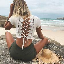 Womens Short Sleeve Crop Tops Lace Up Bandage T-Shirt Summer Beach Tank Blouse