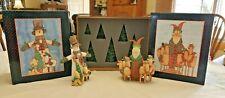 1998 Lang & Wise Folk Art Villages, Classic Santa Sue Dreamer+ Set of Pine Trees