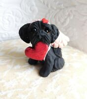 OOAK Black dog Schnoodle or mixed breed Valentine Clay Sculpted by Raquel theWRC