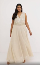 BNWTS Champagne Wedding Prom Party Cruise Dress with Drape Pearl & Sequins Sz 20